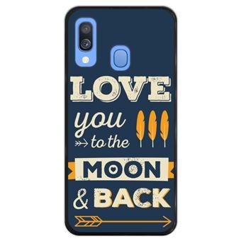 Capa Hapdey para Samsung Galaxy A40 2019 Design Love You to the Moon and Back em Silicone Flexível e TPU Preto