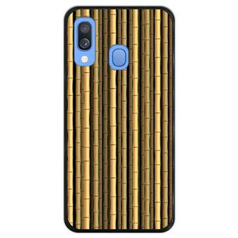 Capa Hapdey para Samsung Galaxy A40 2019 Design Canas de Bambu em Silicone Flexível e TPU Preto