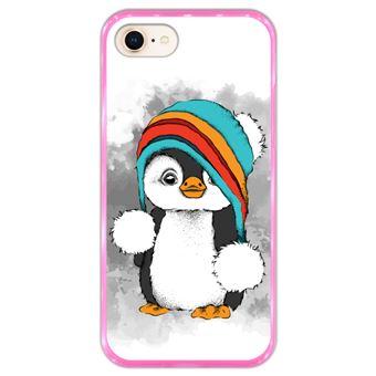 Capa Hapdey para iPhone 7 - 8 Design Pinguim Bebé em Silicone Flexível e TPU Cor-de-Rosa