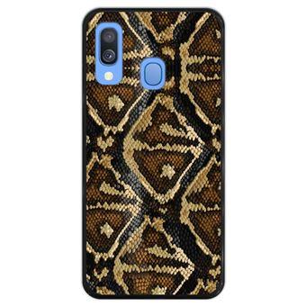 Capa Hapdey para Samsung Galaxy A40 2019 Design Textura de Pele de Cobra em Silicone Flexível e TPU Preto