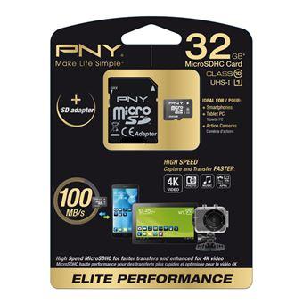 cartão de memória PNY 32GB MicroSD  Class 10 UHS  Preto e Branco