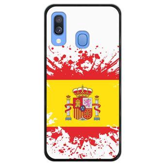 Capa Hapdey para Samsung Galaxy A40 2019 Design Ilustração 1, Bandeira de Espanha em Silicone Flexível e TPU Preto