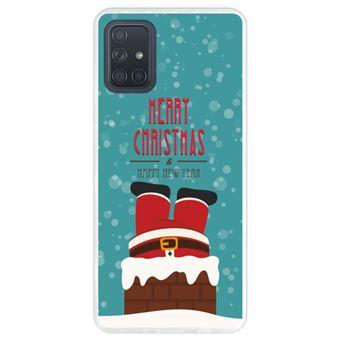 Capa Hapdey para Samsung Galaxy A71 | Silicone Flexível em TPU | Design Natal, Papai Noel está descendo a chaminé - Transparente