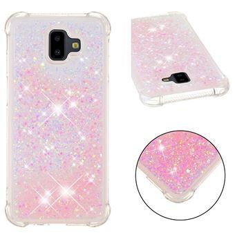 Capa Magunivers TPU glitter quicksand gel à prova de choque rosa para Samsung Galaxy J6 Plus/J6 Prime