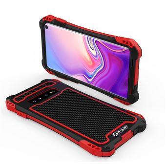 Capa Magunivers de TPU Fibra de Carbono Anti-Queda Vermelho/Preto para Samsung Galaxy S10
