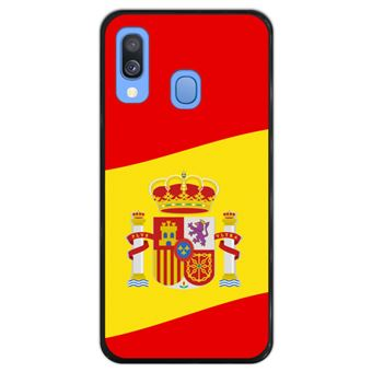 Capa Hapdey para Samsung Galaxy A40 2019 Design Ilustração 2, Bandeira de Espanha em Silicone Flexível e TPU Preto
