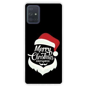 Capa Hapdey para Samsung Galaxy A71   Silicone Flexível em TPU   Design Figura do Papai Noel - Feliz Natal - Transparente