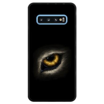Capa Silicone Hapdey Para Samsung Galaxy S10 Design Olho de Lobo Olhando Para Você Flexível Em TPU - Preto