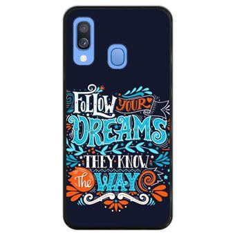 Capa Hapdey para Samsung Galaxy A40 2019 Design Follow Your Dreams, They Know the Way em Silicone Flexível e TPU Preto