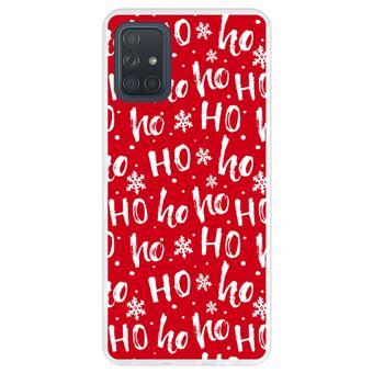 Capa Hapdey para Samsung Galaxy A71   Silicone Flexível em TPU   Design Papai Noel, padrão Hohoho - Transparente
