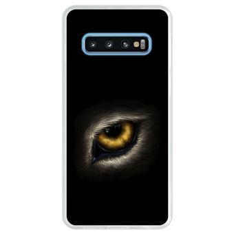 Capa Hapdey Para Samsung Galaxy S10 Design Olho de Lobo Olhando Para Você Capa de Silicone Flexível Em TPU - Transparente