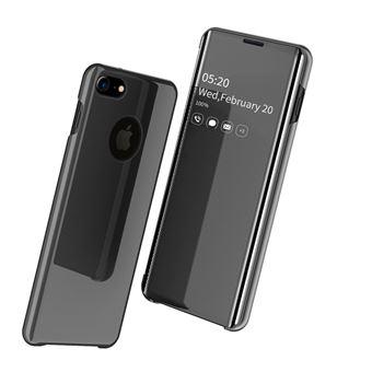 Capa Magunivers PU Superfície do Espelho Pele Vista Janela Preto para iPhone 8/iPhone 7