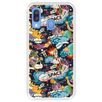 Capa Tpu Hapdey para Samsung Galaxy A40 2019 | Design Padrão de Constelação | Galáxia 5 - Transparente