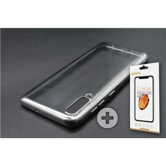 Conjunto com Película de Vidro Temperado e Capa Skyhe para Samsung Galaxy A50 Gel Bumper Prateado