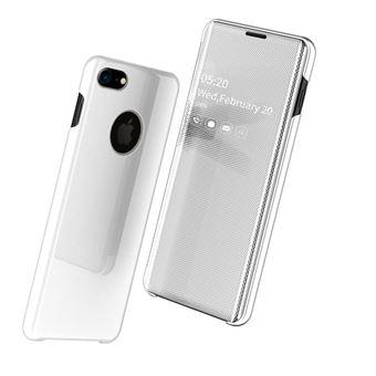 Capa Magunivers PU Superfície do Espelho Pele Vista Janela Branco para iPhone 8/iPhone 7