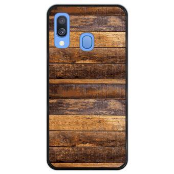 Capa Hapdey para Samsung Galaxy A40 2019 Design Pranchas de Madeira em Silicone Flexível e TPU Preto