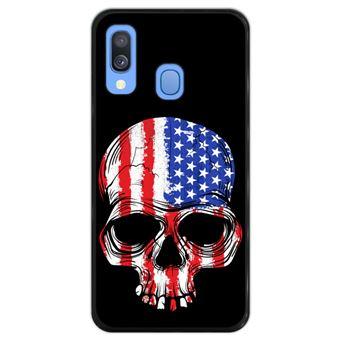 Capa Hapdey para Samsung Galaxy A40 2019 Design Caveira Bandeira Americana em Silicone Flexível e TPU Preto