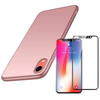 Kit Película de Vidro 5D Full Cover e Capa Slimshield Phonecare para iPhone Xr Cor-de-Rosa