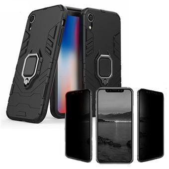 Kit Película 5D Anti-Spy + Capa 3X1 Military Defender Phonecare para Iphone XR Preto