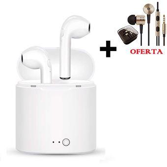 Auriculares Bluetooth Klack I7 + Oferta Auriculares com Cabo jack 3.5 Dourados de Alta Qualidade