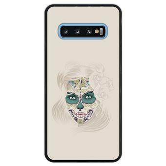 Capa Silicone Hapdey Para Samsung Galaxy S10 Design Dia dos Mortos Senhora Caveira de Açúcar Flexível Em TPU - Preto