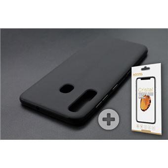Conjunto com Película de Vidro Temperado e Capa Skyhe para Samsung Galaxy A50 Gel Preto