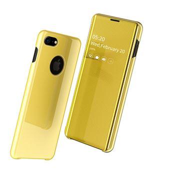 Capa Magunivers PU Superfície do Espelho Pele Vista Janela Amarelo para iPhone 8/iPhone 7