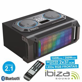 Sistema Som Portátil Ibiza 2.1 200Wmáx Usb/Bt/Fm/Rec Leds