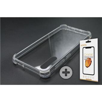 Conjunto com Película de Vidro Temperado e Capa Skyhe para Samsung Galaxy A50 Gel Reforçado Transparente