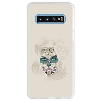 Capa Hapdey Para Samsung Galaxy S10 Design Dia dos Mortos Senhora Caveira de Açúcar Capa de Silicone Flexível Em TPU - Transparente