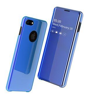 Capa Magunivers PU Superfície do Espelho Pele Vista Janela Azul para iPhone 8/iPhone 7
