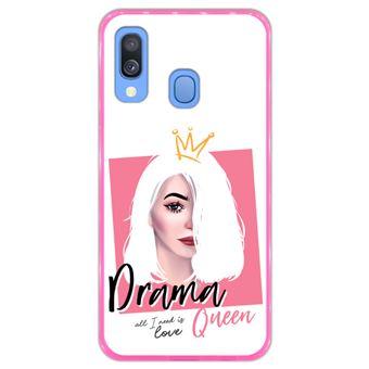 Capa Hapdey para Samsung Galaxy A40 2019 Design Drama Queen em Silicone Flexível e TPU Cor-de-Rosa