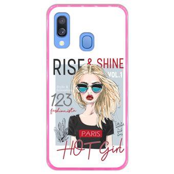 Capa Hapdey para Samsung Galaxy A40 2019 Design Rise and Shine em Silicone Flexível e TPU Cor-de-Rosa