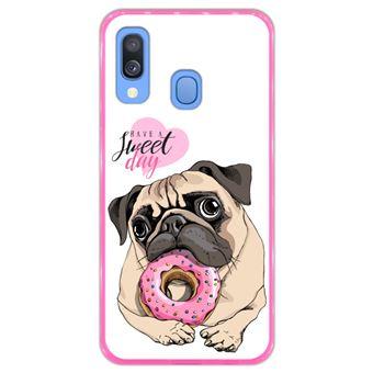 Capa Hapdey para Samsung Galaxy A40 2019 Design Pug Have a Sweet Day em Silicone Flexível e TPU Cor-de-Rosa