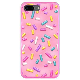 Capa Hapdey para iPhone 7 Plus - 8 Plus Design Donut Cor-de-Rosa com Sprinkles em Silicone Flexível e TPU Cor-de-Rosa