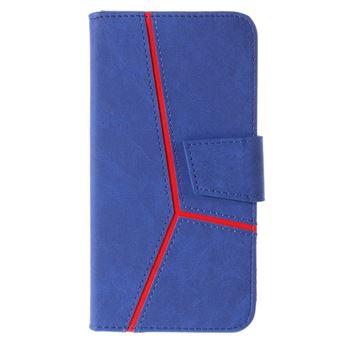 Capa PU splicing azul para Apple iPhone 8 Plus/7 Plus
