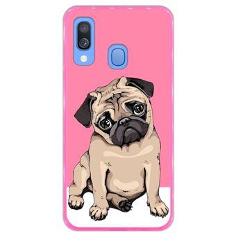 Capa Hapdey para Samsung Galaxy A40 2019 Design Pug Bebé a Posar em Silicone Flexível e TPU Cor-de-Rosa