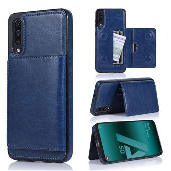 Capa Magunivers | PU + TPU com suporte e vários titulares de cartão Azul escuro para Samsung Galaxy A50/A50s/A30s