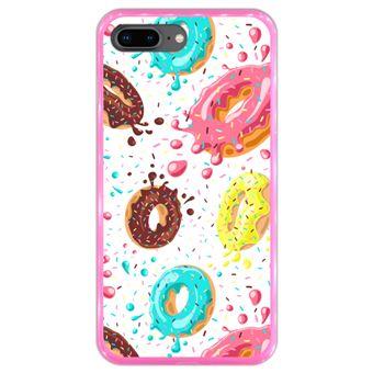 Capa Hapdey para iPhone 7 Plus - 8 Plus Design Donuts com Chocolate e Sprinkles em Silicone Flexível e TPU Cor-de-Rosa