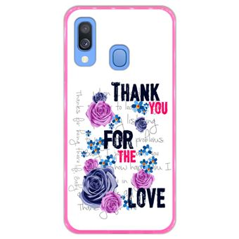Capa Hapdey para Samsung Galaxy A40 2019 Design Floral Thank You For The Love em Silicone Flexível e TPU Cor-de-Rosa
