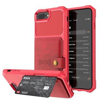 Capa Magunivers PU revestido com folha built-in vermelho para Apple iPhone 8 Plus/7 Plus/6s Plus/6 Plus 4.7 inch