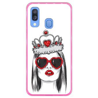 Capa Hapdey para Samsung Galaxy A40 2019 Design Rainha de Copas em Silicone Flexível e TPU Cor-de-Rosa