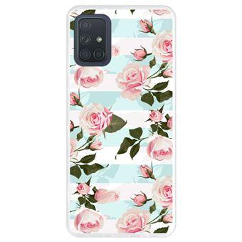 Capa Hapdey para Samsung Galaxy A71   Silicone Flexível em TPU   Design Ilustração botânica florescendo, rosas cor de rosa - Transparente