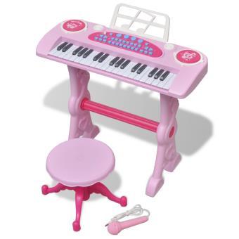 Teclado de Brincar Infantil vidaXL com Banco e Microfone 37 Teclas Rosa