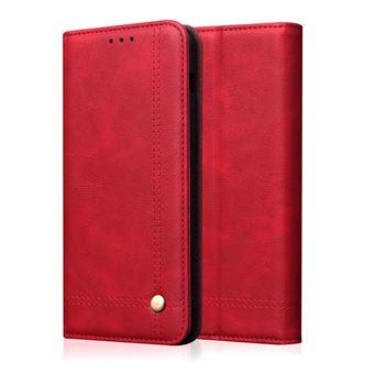 Capa PU cavalo louco auto-absorvido vintage vermelho para Samsung Galaxy A50