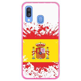 Capa Hapdey para Samsung Galaxy A40 2019 Design Ilustração 1, Bandeira de Espanha em Silicone Flexível e TPU Cor-de-Rosa