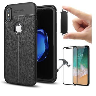 Kit Película + Capa Rugged Leather + Suporte Magnético PhoneShield Flexguard para iPhone X | Full Cover | Reaplicável  - Preto