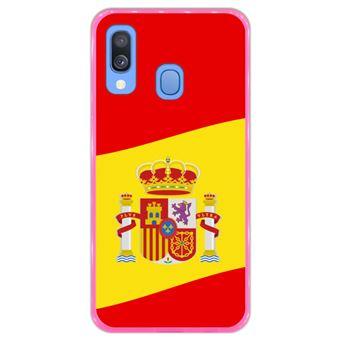 Capa Hapdey para Samsung Galaxy A40 2019 Design Ilustração 2, Bandeira de Espanha em Silicone Flexível e TPU Cor-de-Rosa