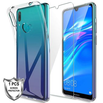 Capa Protetora de Fibra de Carbono e Película Ecrã de Vidro Temperado Advansia para Huawei Y7 2019