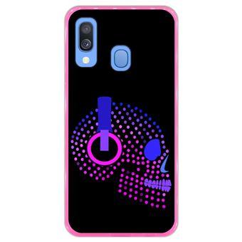Capa Hapdey para Samsung Galaxy A40 2019 Design Caveira Neon com Headphones em Silicone Flexível e TPU Cor-de-Rosa